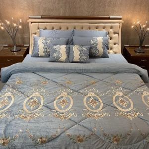 Annie's Steel Blue Velvet Bedding Set