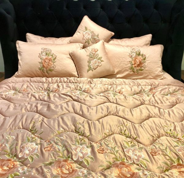 Royal Rose Gold Satin Silk Quilted Bedspread