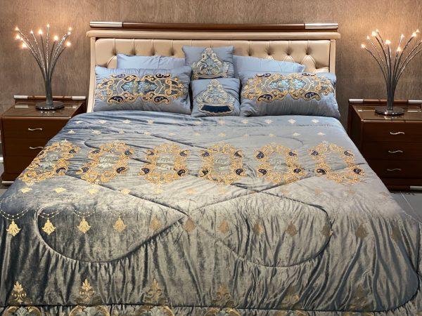 Annie's Cadet Blue Velvet Bedding Set